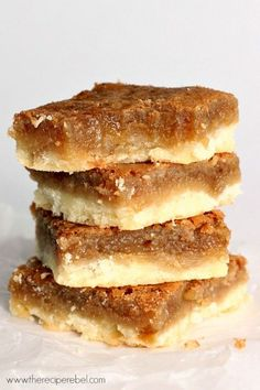 Butter Tart Squares: rich, sugary filling on top of a buttery shortbread crust. Just like a butter tart but so much easier! If you've never had a butter tart, you need to try these!