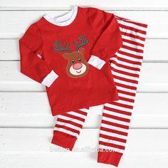 302012080b Cotton Sleepwear Christmas Striped Pajamas Girl Pyjamas 100 ... Boys  Christmas Outfits