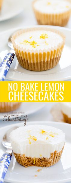 No bake lemon cheesecake minis. Little bites of citrus heaven, made with sour cream, cream cheese, a touch of sugar & gelatin, and plenty of lemon. Perfect!