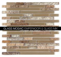 All Marble Mosaic Glass and Stone blend Random Strip 12 x 12 Mosaic Tile   Stone and glass mosaics. backsplash and more http://allmarbletiles.com