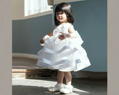 Fluffy Layers Flower Girl Dress/white flower girl dress. Available from 0 - 15 Years. Color: White. Material: Satin, purified cotton lining, tulle mesh. Free shipping.