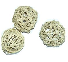 All Natural Vine Balls - Chew Toy For Rabbits, Guinea Pigs, Chinchillas, Birds, Gerbils, Hamsters, and Other Small Pets (Set of Three 2.5 Inch Wicker Balls)