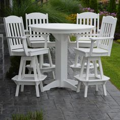 Outdoor A & L Furniture Traditional Poly 5 Piece Round Bar-Height Patio Dining Set - ALF339