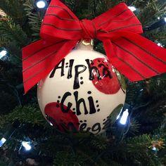 Alpha Chi Omega Ceramic Ornament. www.sassysorority... #sororitygift #alphachi #ornament #gogreek #handpainted #christmas #sassysorority