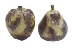 2 Piece Ceramic Pear and Apple Décor Sculpture Set