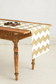 Gilt Chevron Paper Table Runner - do it in turquoise with wrapping paper