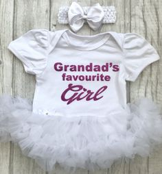 f945cc3904f8a Grandads favourite girl baby girls personalised tutu romper in white from  Little Secrets Clothing. Perfect