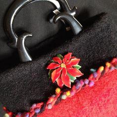 Needle Felted Christmas Purse Handbag W/Vintage Poinsettia Pin Plastic Handles #Handmade #Christmas