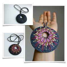Wool Felt Statement Necklace // Hand by LoftFullOfGoodies on Etsy Lace Jewelry, Textile Jewelry, Fabric Jewelry, Gothic Jewelry, Jewelry Necklaces, Bullet Jewelry, Geek Jewelry, Jewelry Crafts, Felt Necklace