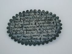 """Nicola Becci """"Alphabet of Cakes"""" brooch   handwriting on paper,clear cold enamel & oxidised silver"""