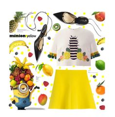 """Minion Yellow"" by julesdiaries ❤ liked on Polyvore featuring RED Valentino, Mother of Pearl, MANGO, contestentry and minionyellow"