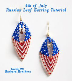 4th of July Earrings Beading Pattern by Barbara Henthorn at Bead-Patterns.com