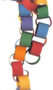 Making paper chains at Christmas