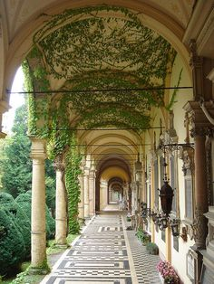View from the peristyle walk in the Prefect's palace? Mirogoj Cemetery Arcade in Zagreb, Croatia