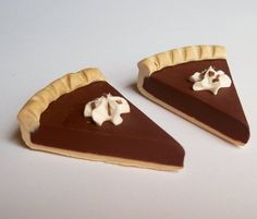2 Chocolate Pie Slices for Thanksgiving Christmas Dessert Treat Set of 2 - Perfect for 18 Inch American Girl® Dolls