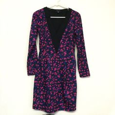 I ❤️ Ronson Long Sleeve Deep V Floral Dress This pretty dress by I ❤️ Ronson has a gorgeous blue purple pink and black floral print! It is in good condition and is a size 2. I Heart Ronson  Dresses Long Sleeve