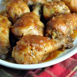 A sweet and tangy, super easy, and inexpensive crock pot chicken dish made with pantry staples!