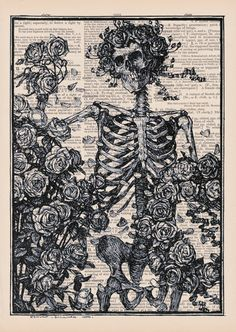248f80331e Antique Skeleton With Roses  Vintage Dictionary Page Art Print.  9.00