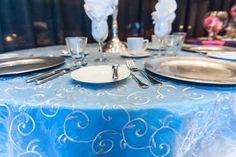 #winterwonderlandwedding Silver swirl overlay. Cobalt blue table cloth. Silver accents