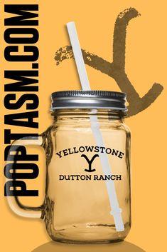 Rip Wheeler Frosted Mason Jar Drinking glass mug Yellowstone T 12oz with straw