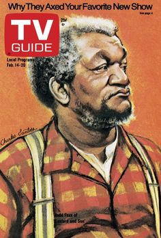 TV Guide February 14, 1976 - Redd Foxx of Sanford and Son. Illustration by Charles Santore.