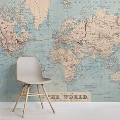 Create a classically sophisticated look in your home with our Vintage Blue Map of the World Mural, part of our beautiful vintage map collection. Big World Map, World Map Mural, World Map Wallpaper, Wallpaper Murals, World Map Bedroom, Wallpaper Toilet, Bathroom Wallpaper, Animal Wallpaper, Azul Vintage