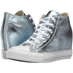 Converse Ctas Lux Mid (Metallic Glacier/White) Women's Lace up casual... ($40) ❤ liked on Polyvore featuring shoes, sneakers, olive, metallic sneakers, olive sneakers, white trainers, star sneakers and converse trainers