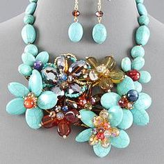 turquoise stone and crystal flower necklace set