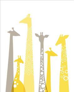 Giraffes! yellow & gray :)