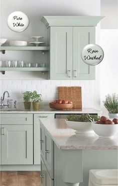 White Kitchen Decor Two-toned painted cabinets in the kitchen are a hot trend that is here to stay! Here are some timeless paint color combos to consider for your kitchen to break up an all white kitchen. White and pale green kitchen cabinets. Kitchen Cabinets Color Combination, Green Kitchen Cabinets, Kitchen Cabinet Colors, Kitchen Redo, New Kitchen, Kitchen Ideas Color, Kitchen Modern, Modern Farmhouse, Kitchens With Painted Cabinets