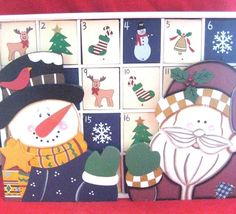 24 Day Wooden Christmas Advent Calendar White Large Santa Snowman