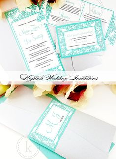 The Mayra Suite - Damask Pocketfold Wedding Invitations - Krystals Wedding Invitations #weddings #weddinginvitation