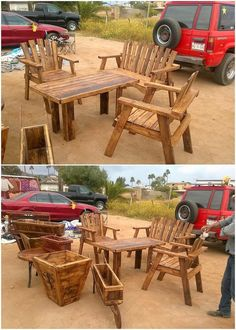 Well, a complete wood pallet furniture set up design has been put together here for you. This wood pallet furniture design artwork has been all customized into the blend of the awesome hues. It adds up with the center table piece with the chair pairing setting and also the planter barrow piece.