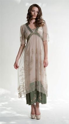 a11b36f361 Sea Moss and Sand Gown - embroidered chemise with embroidered tulle overlay  and lace trim Vintage · Vintage Style ...