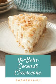 quick and easy No-Bake Coconut Cheesecake is jam-packed with toasted coconu. -This quick and easy No-Bake Coconut Cheesecake is jam-packed with toasted coconu. Dessert Simple, Easy Desserts, Dessert Recipes, Health Desserts, Kinds Of Desserts, Baking Desserts, Cake Baking, No Bake Desserts, Galletas Keto