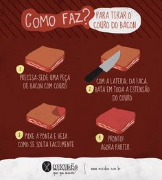 Bacon, Carne, Cake Tutorial, Food Illustrations, Chocolate, Cooking, Kitchen, Foods, Sweet Recipes