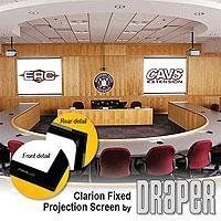"""Draper Clarion HDTV Format Fixed Frame Wall Projection Screen, 31.75"""" x 56.5"""", M1300 Matte White Surface by Draper Inc. $451.95. Improve your images with Clarion projection screens. These screens are designed for permanent wall mounting. The viewing surface is perfectly flat that results in perfect picture quality. Viewing surfaces have hem pocket on all four sides to accept screen insertion tubing. The Clarion's self-concealing aluminum frame now forms an attract..."""