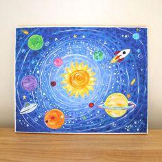 Art ideas: prints for kids solar system print kids room nursery. Solar System Painting, Solar System Art, Boys Room Decor, Kids Room, Bedroom Kids, Pictures To Paint, Art Pictures, Painting For Kids, Art For Kids