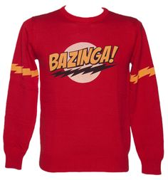 Mens Red Bazinga Big Bang Theory Jumper BAZINGA! This Big Bang Theory jumper flaunts the catchphrase created by our favourite geek, Sheldon Cooper. Derived from the word zing (meaning to fool someone), this super soft red jumper features th http://www.comparestoreprices.co.uk/t-shirts/mens-red-bazinga-big-bang-theory-jumper.asp