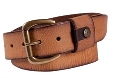 Smooth leather belt with antique look and a classic buckle in brass finish
