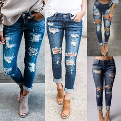 $13.99 - Women's High Waist Skinny Pencil Pants Ripped Jeans Slim Stretch  Trousers S-Xl