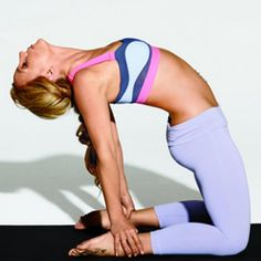 Kneel with legs hip-width apart, then arch back and reach for right heel with right hand, then left heel with left hand. Lift chest, press hips forward, and drop head back [shown]. Hold for 5 to 10 breaths. Reverse the motion to come out of the pose.