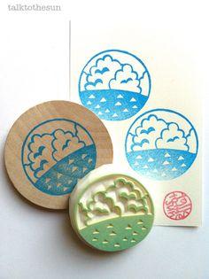 sello de goma de océano de verano. sello de goma talladas a mano. vacaciones de verano. círculo. montado.