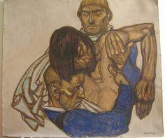 """Jean Georges CORNELIUS (1880-1963),  """"Jésus est descendu de la Croix"""", huile et fusain sur carton, 80 x 89 cm."""