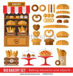 just the facts 1 // Set of bread products, bakery items, coffee shop elements and bakery showcase. Illustration in a flat style for a bakery or cafe.