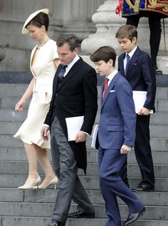 (L-R) Lady Sarah Chatto, Daniel Chatto and their children Samuel and Arthur