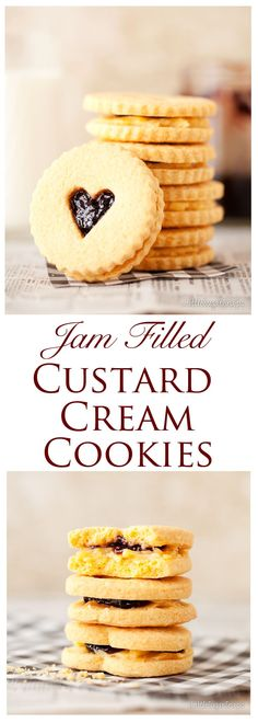 Custard Creams Biscuits with a Jammie Centre – Littlesugarsnaps Custard Cream Biscuits filled with jam: buttery, crunchy, & crumbly with an authentic taste of custard about them. Delicious Cookie Recipes, Best Cookie Recipes, Yummy Cookies, Sweet Recipes, Yummy Food, Easy Desserts, Dessert Recipes, Baking Recipes, Cream Biscuits