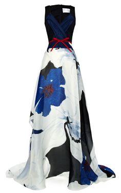 Carolina Herrera Floral Printed Organza Dress in Blue (White/Red/Black/Blue)