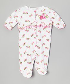 This White Rose Ruffle Footie - Infant by Mon Cheri Baby is perfect! #zulilyfinds