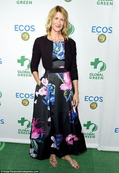 Tropical:Jurassic Park star Laura Dern, 49, also made an elegant statement, donning a lovely black ankle-length dress featuring a large, colourful floral pattern
